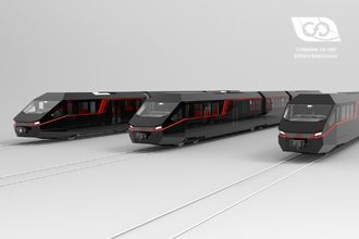 View of the CFD passengers vehicles range (from right to left: bogie, articulated bogie and axle units)